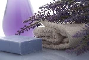 lavender soap and towel closeup